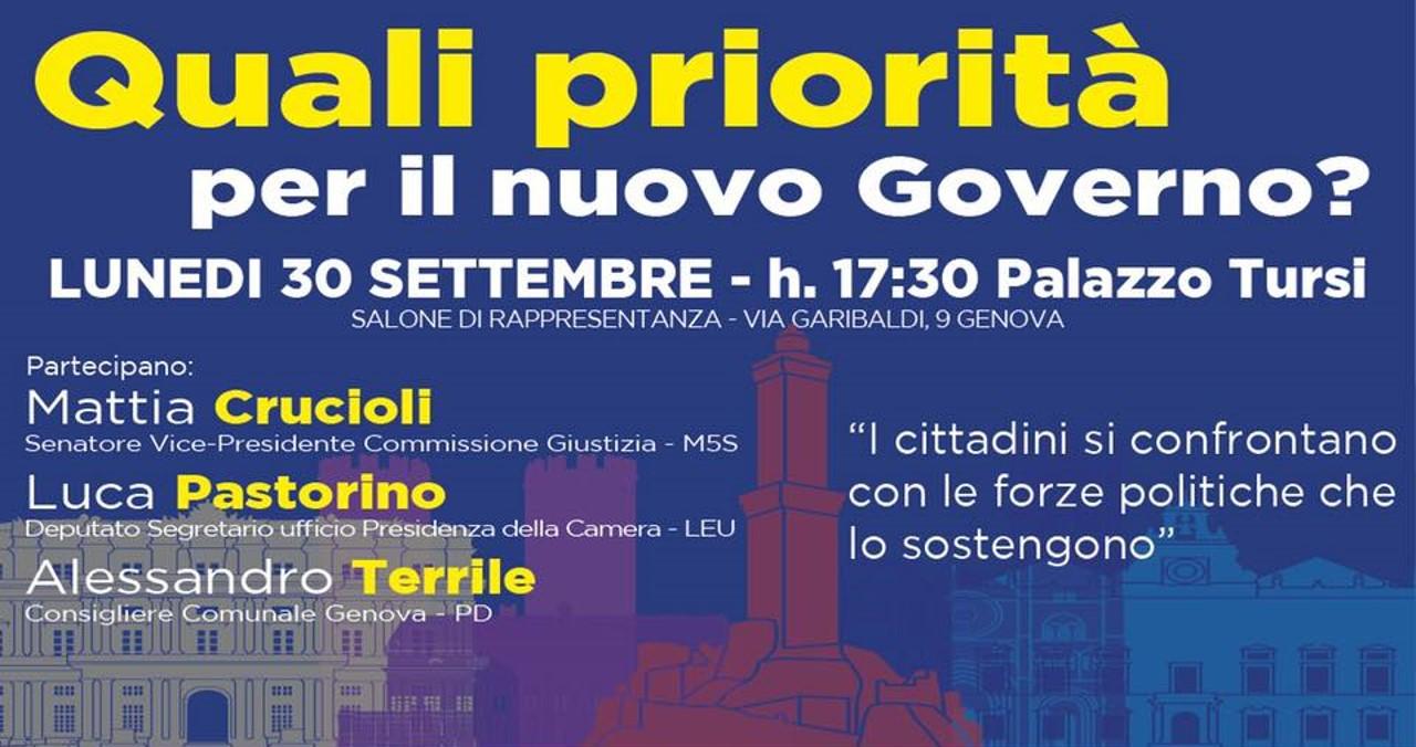 """Genova, incontro pubblico Pd,M5S e Leu: """"Quali priorità per il nuovo Governo?"""""""