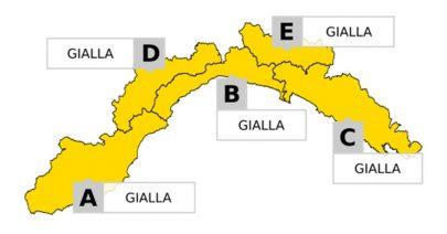 Allerta GIALLA per temporali e piogge diffuse su tutta la Liguria a partire dalle 21