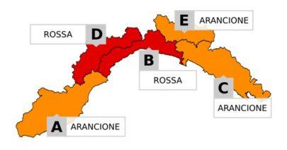 Allerta meteo prolungata e modificata dalle 20 di domenica 20 B e D in ROSSO