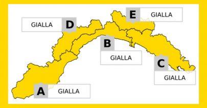 Allerta Meteo Liguria: domenica 1 dicembre GIALLA per piogge diffuse su tutta la regione