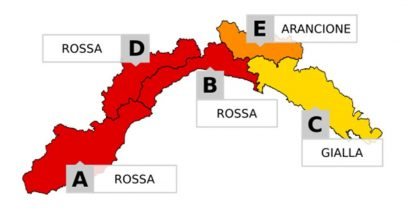 Allerta meteo 22-23 novembre ROSSA sul centro Ponente