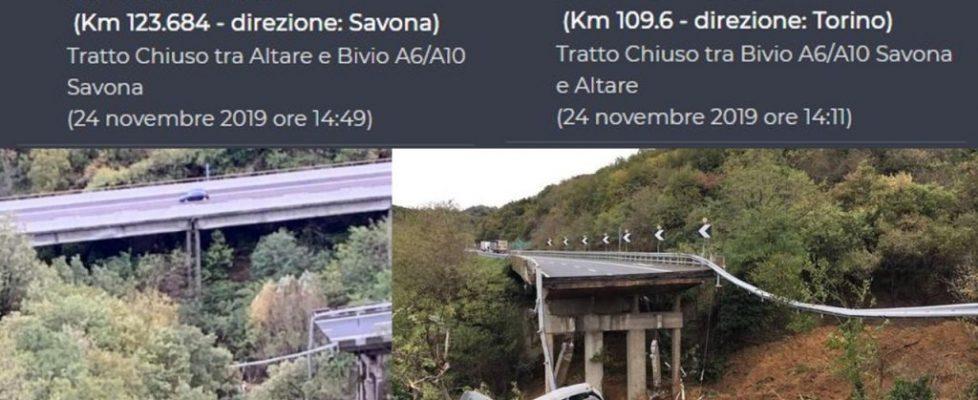 Crollo Viadotto A6: non risultano mezzi e persone coinvolte