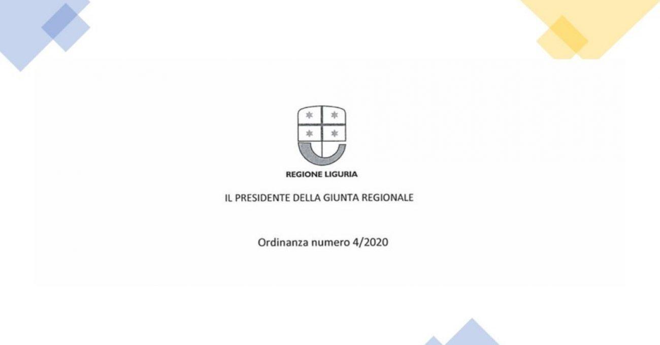 Coronavirus: ordinanza 4-2020 Regione Liguria