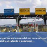 Autostrade, Covid-19: da ieri esenzione pedaggi per personale sanitario in servizio