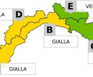Allerta Gialla sui bacini A-B-D della Liguria dalla 22 del 14.07.19