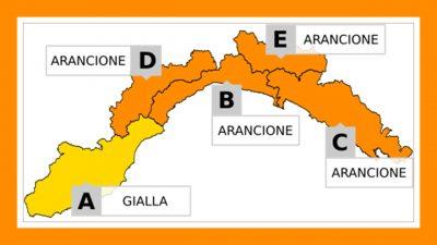 Allerta Meteo Liguria: GIALLA protratta su A e ARANCIONE su D fino alle 16; confermato il quadro di ieri sulle restanti zone