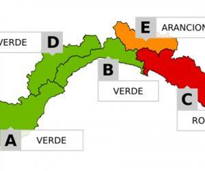 Allerta Meteo: dalle ore 21 il Levante passa da ROSSA ad Arancione, poi GIALLA