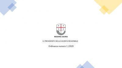Ordinanza 1-2020 Regione Liguria - coronavirus